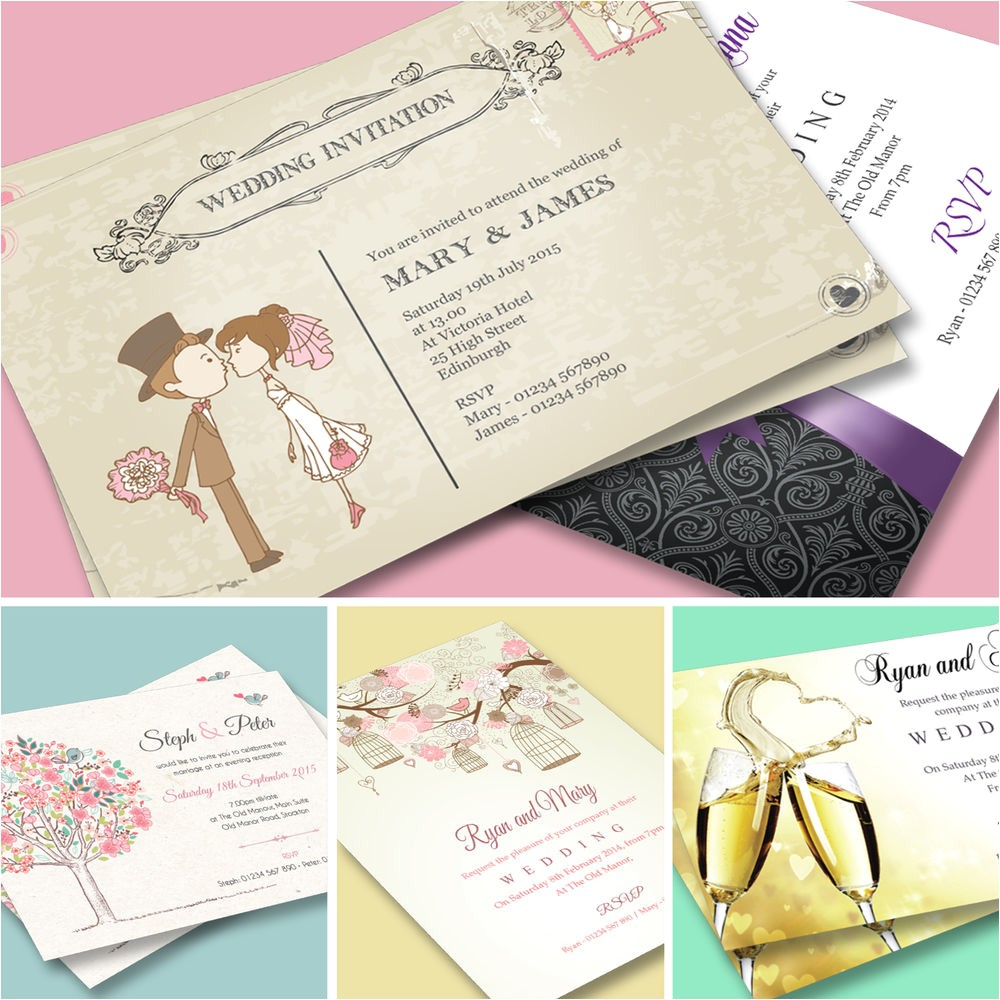 100 Personalised Wedding Invitations 100 Wedding Invitations Invites Personalised Day or