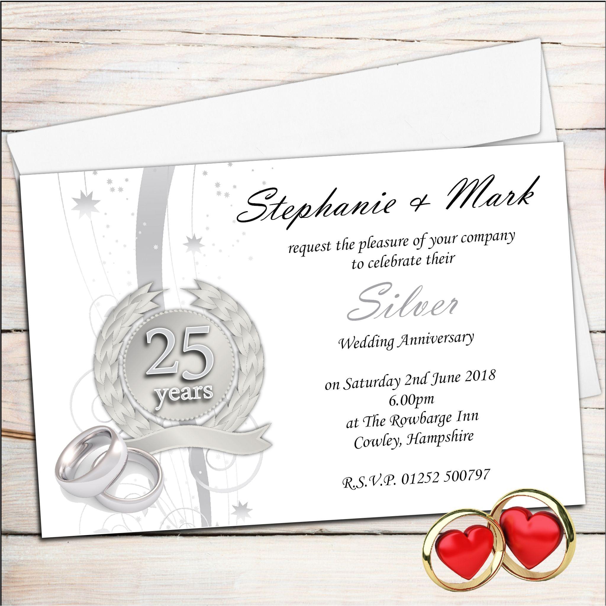 free templates for 25th wedding anniversary invitations