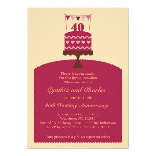 40 wedding anniversary cake invitation 161723414666500600