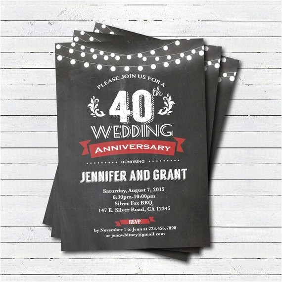 40th wedding anniversary invitation red