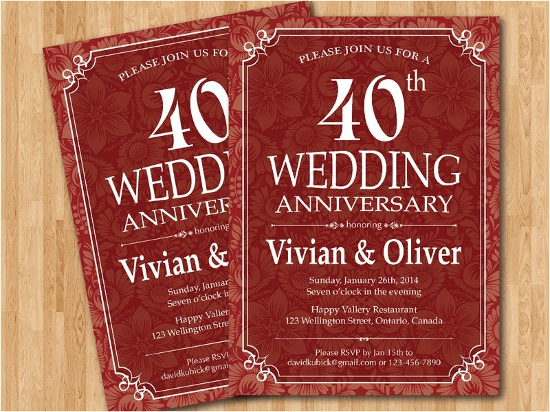 40th wedding anniversary invitation ruby