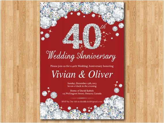 40th wedding anniversary invitation ruby