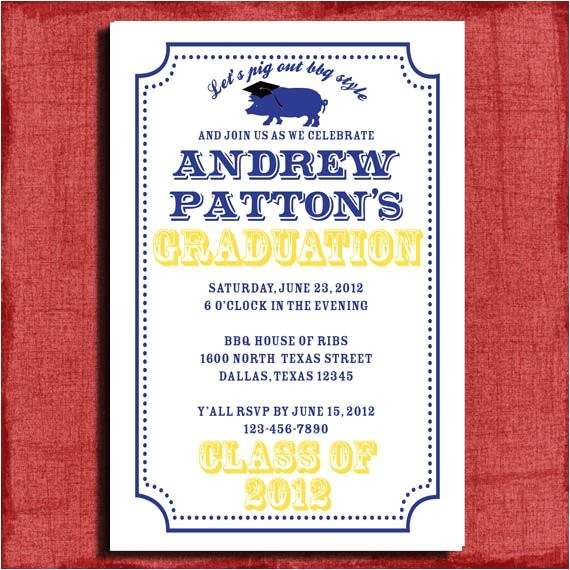 bbq graduation invitation 4x6 or 5x7
