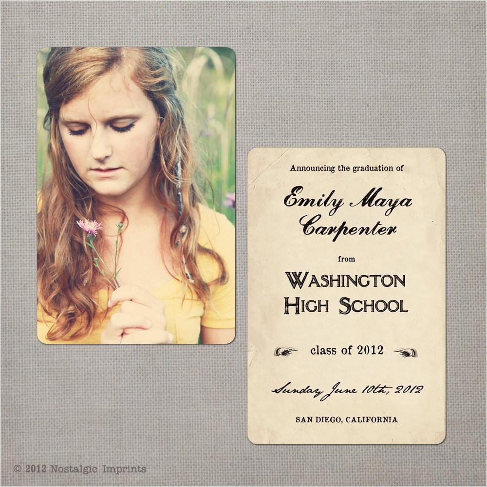 vintage graduation invitation