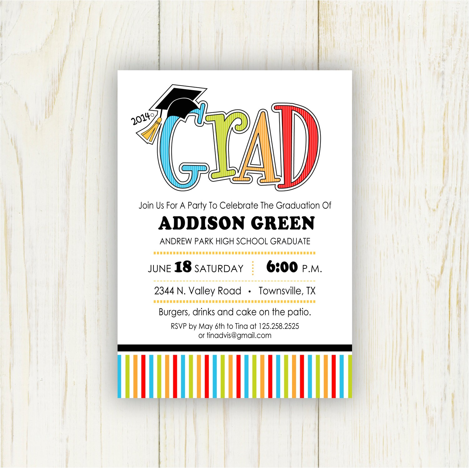 graduation party invitation 5x7 or 4x6