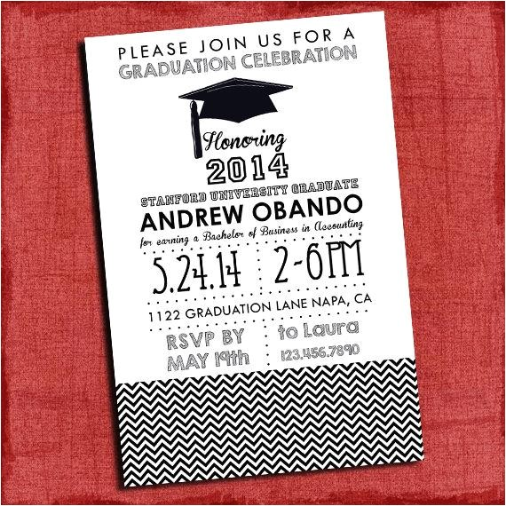 graduation party invitation chevron