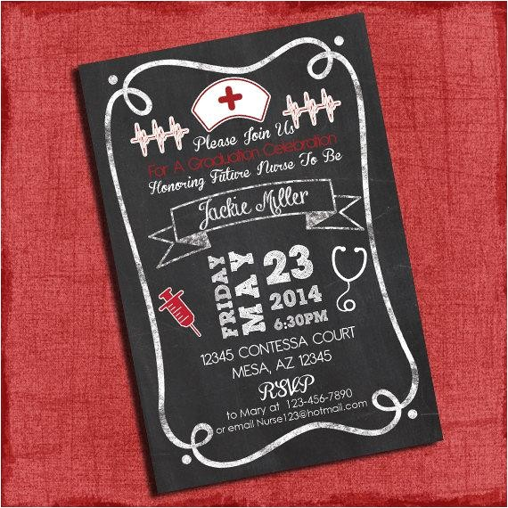 nurse graduation party invitation chalkboard style