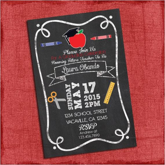 4×6 Graduation Party Invitations Teacher Graduation Party Invitation Chalkstyle 4×6 or 5×7