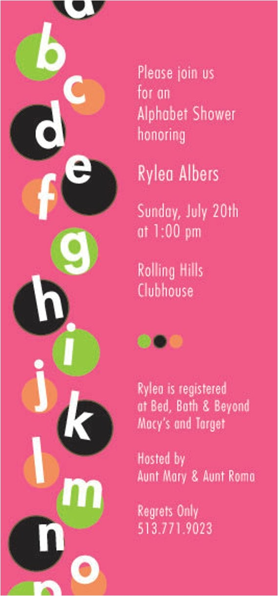 alphabet wedding shower 4x8 invitation