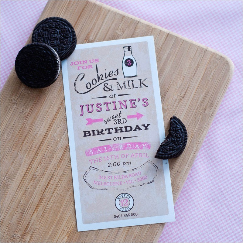 vintage milk and cookies printable invitation pink