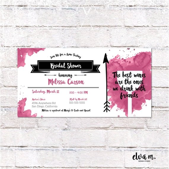 wine tasting bridal shower invitation 4x8