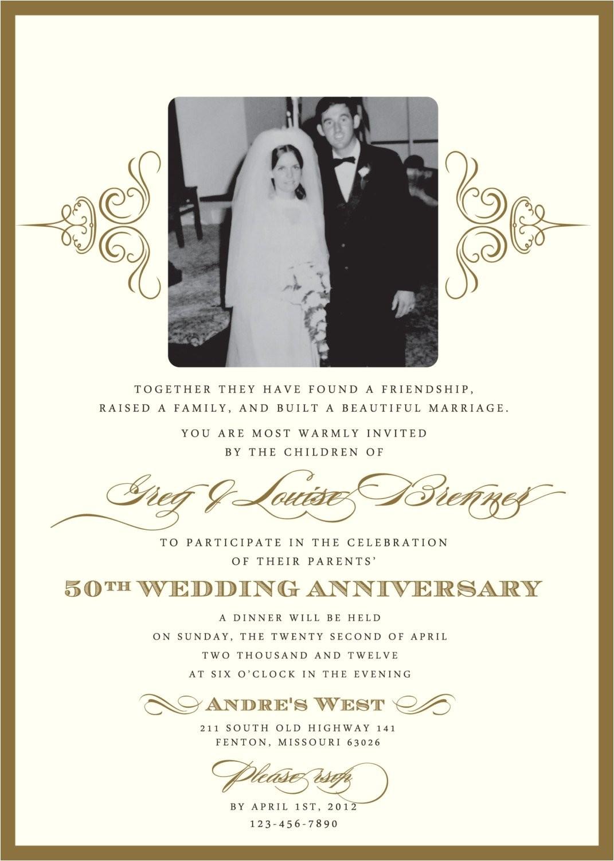 50 Wedding Anniversary Invitations Wording Golden 50th Anniversary Party Invitation
