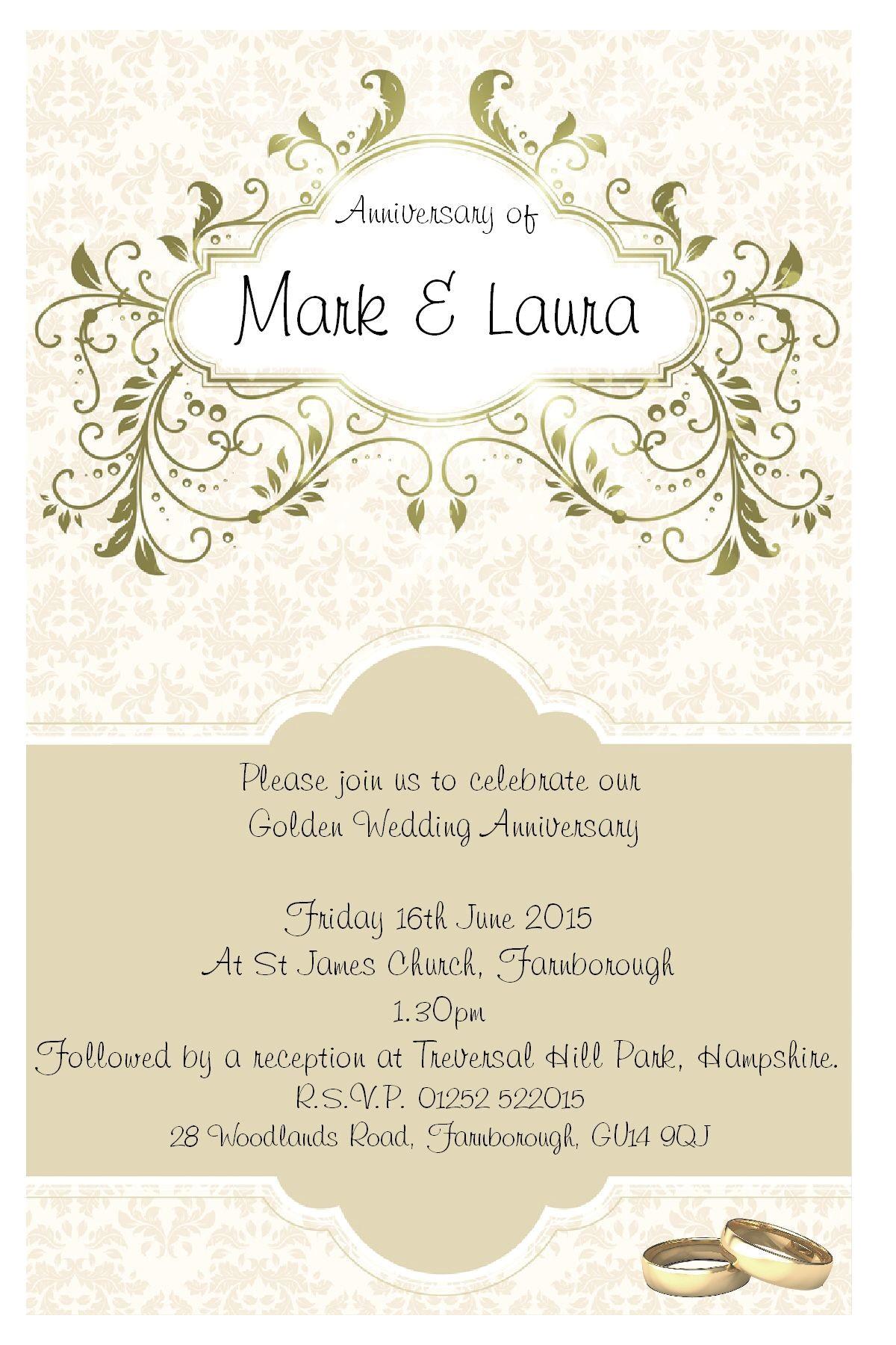 wording for golden wedding invitations uk