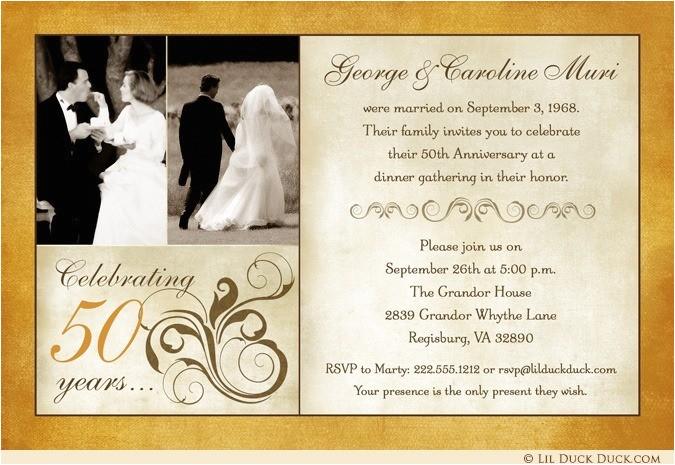 fashionable 50th anniversary photo invitation