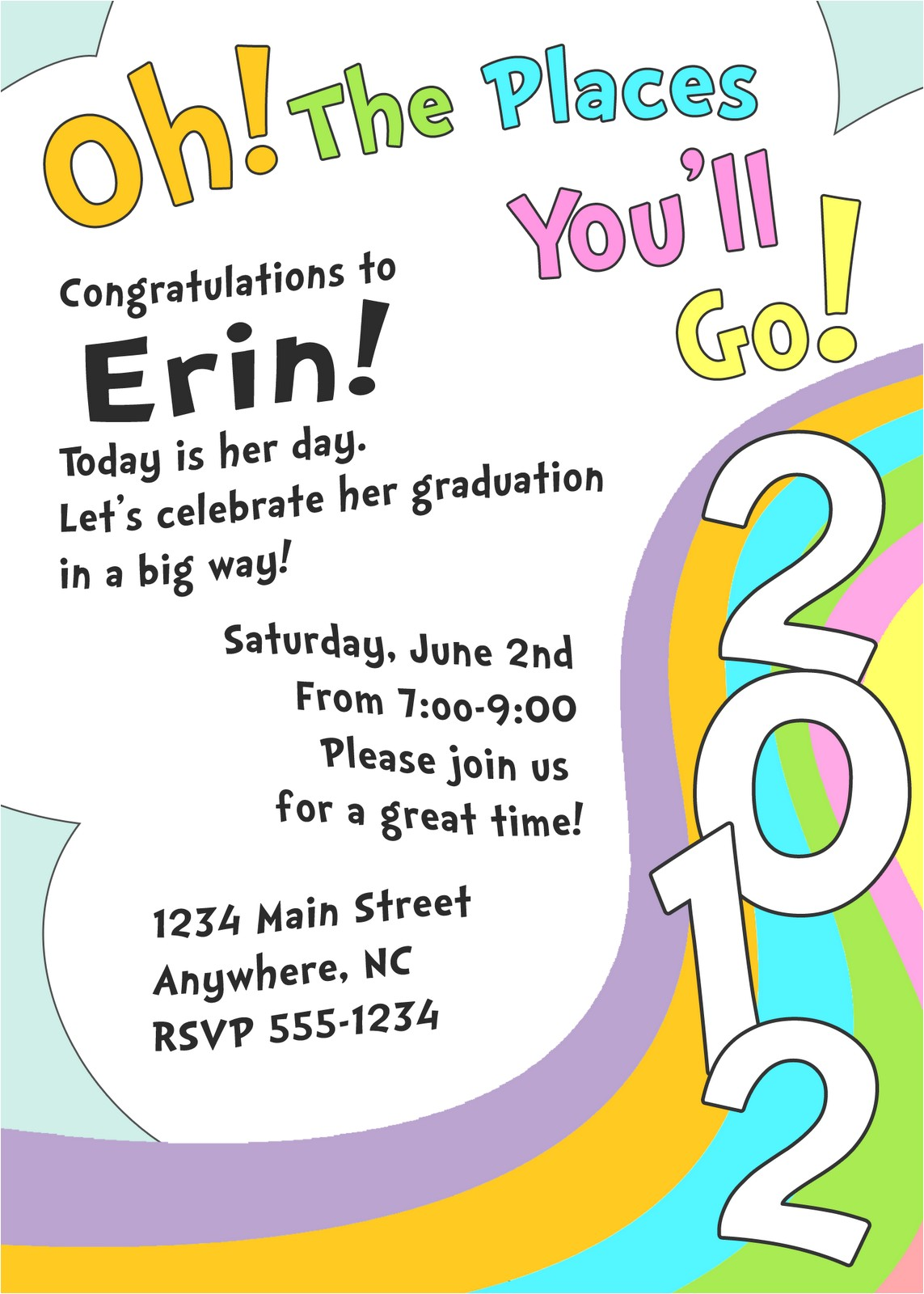 oh places youll go graduation invite