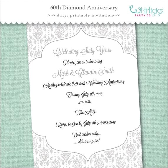60th diamond anniversary invitation digital file