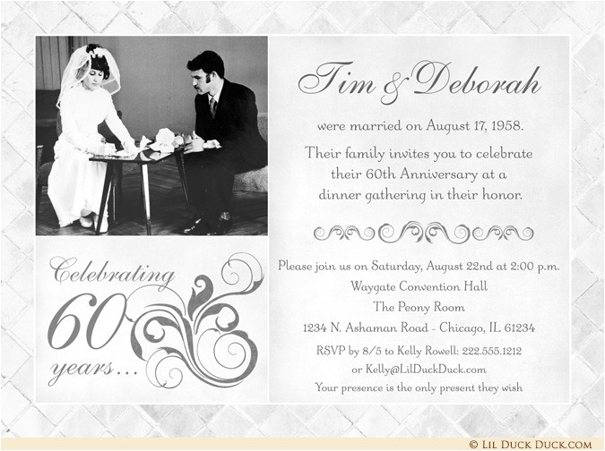fashionable 50th anniversary photo invitation