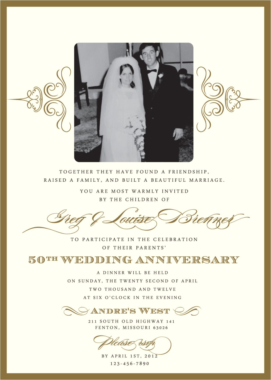 60th Wedding Anniversary Invitation Wording Golden 50th Anniversary Party Invitation