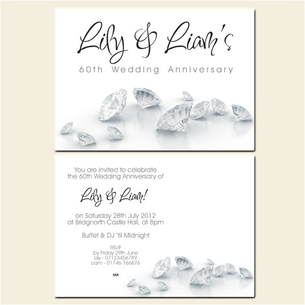 60th wedding anniversary invitations diamonds
