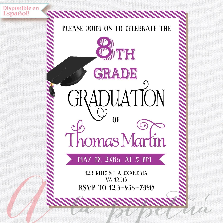 8th Grade Graduation Party Invitations 8th Grade Graduation Invite Printable Graduation Invitation