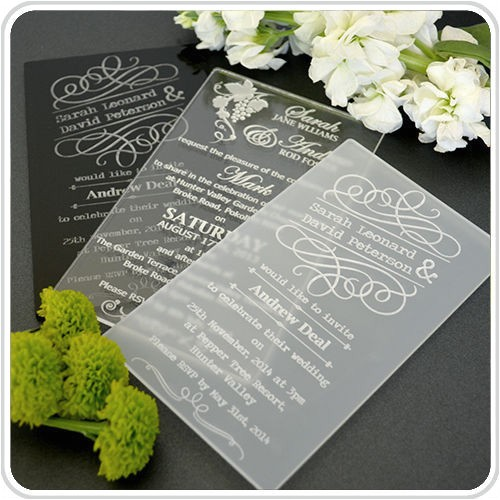 lace butterfly personalised acrylic wedding invitation 60078301204