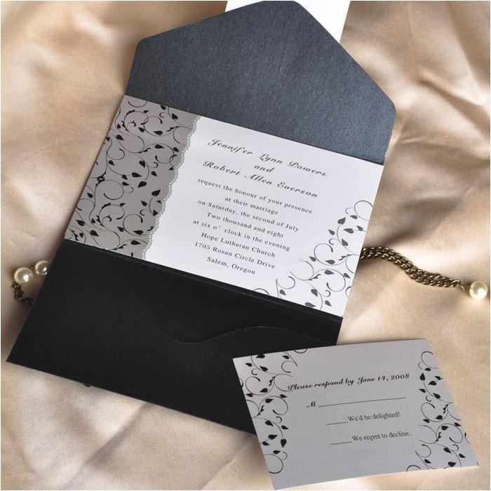 affordable black and white pocket wedding invitation cards ewpi025