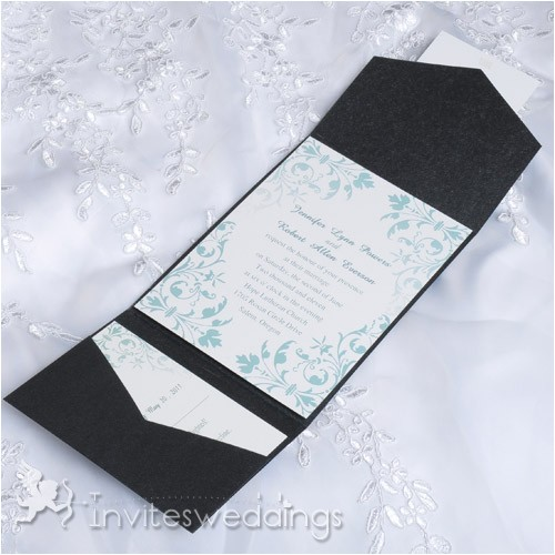 cheap mint green floral black pocket wedding invites iwps088 p 455