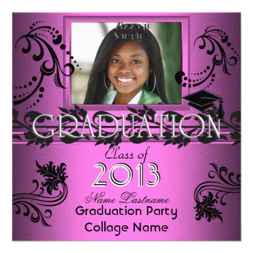 african american graduation party pink girl photo invitation 161765326924900674
