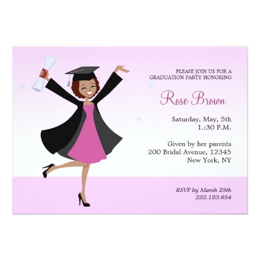 graduate african american girl party invitation 161437292745586958