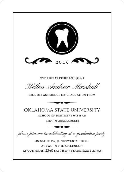dental school graduation announcement wording