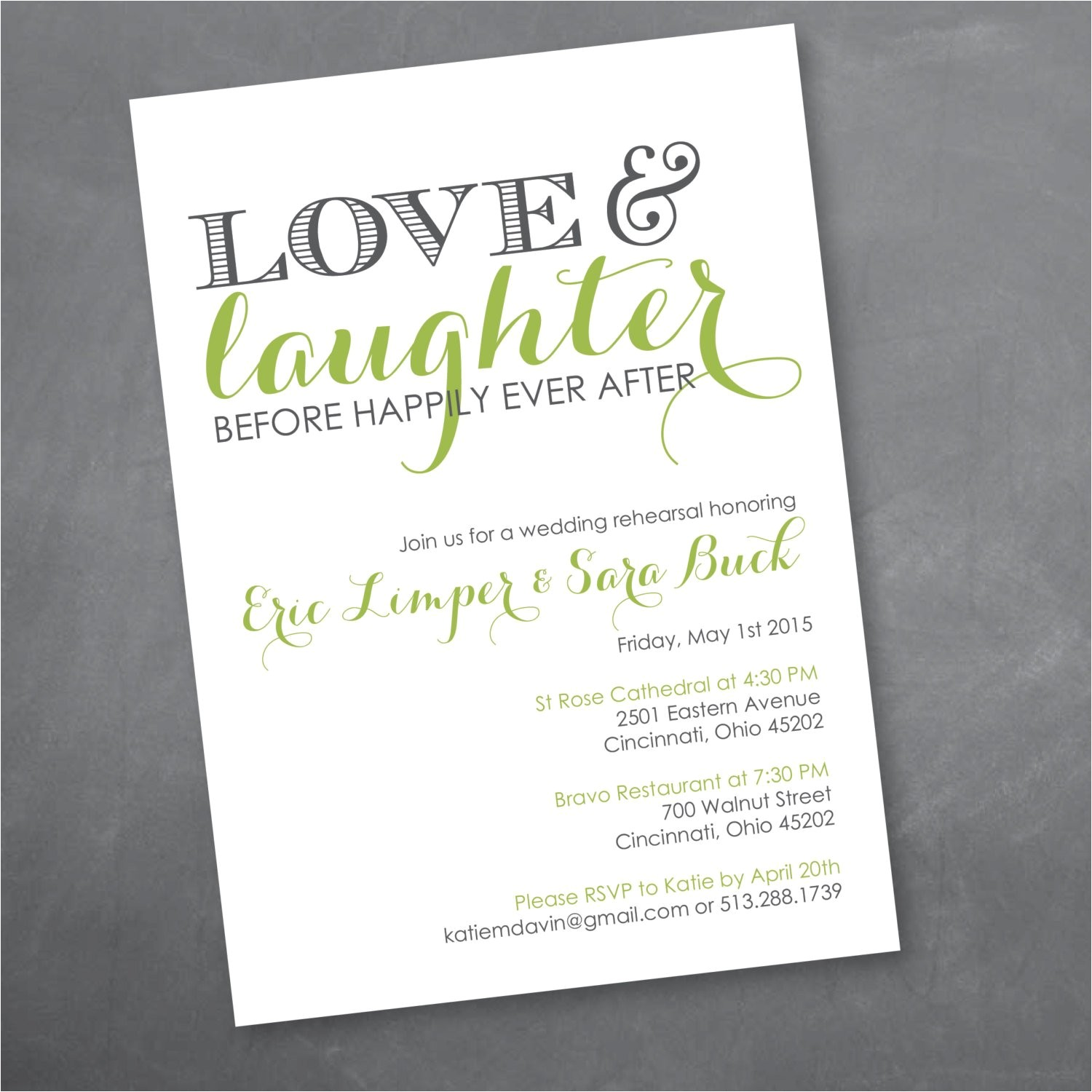 love and laughter rehearsal dinner