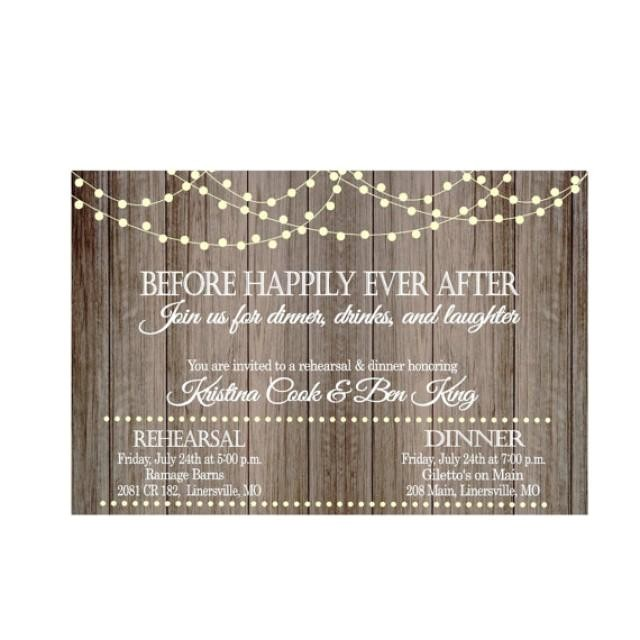 vintage lights on rustic wood before happily ever after rehearsal dinner invitation wedding digital file only