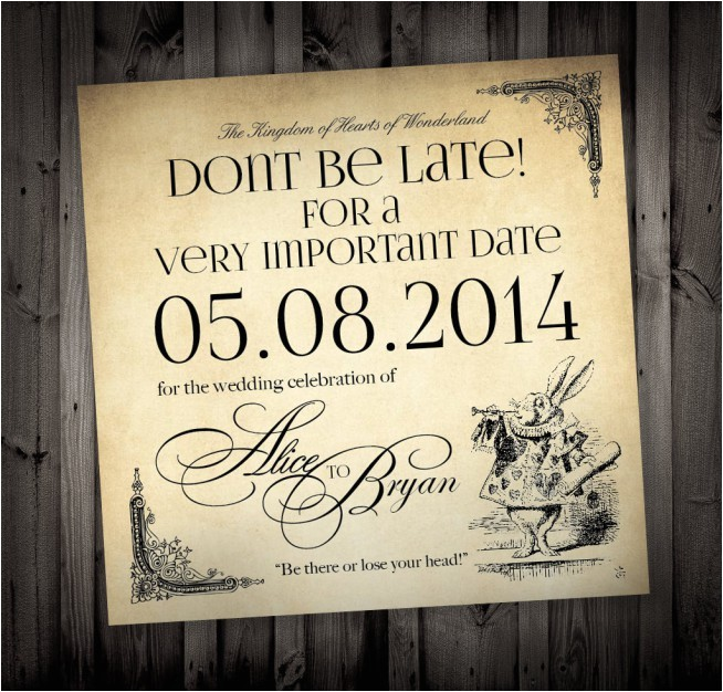 alice in wonderland wedding invitations