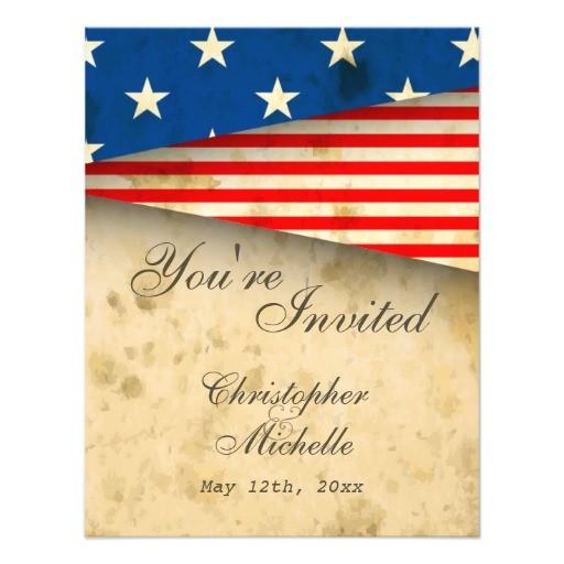 patriotic us flag vintage style wedding invitation 161501770406375976