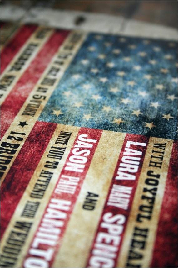 wedding invitation american flag rustic