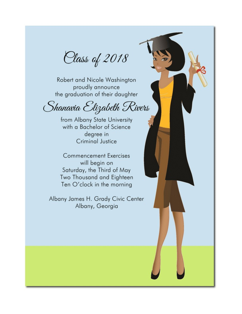 african american female graduation announcement
