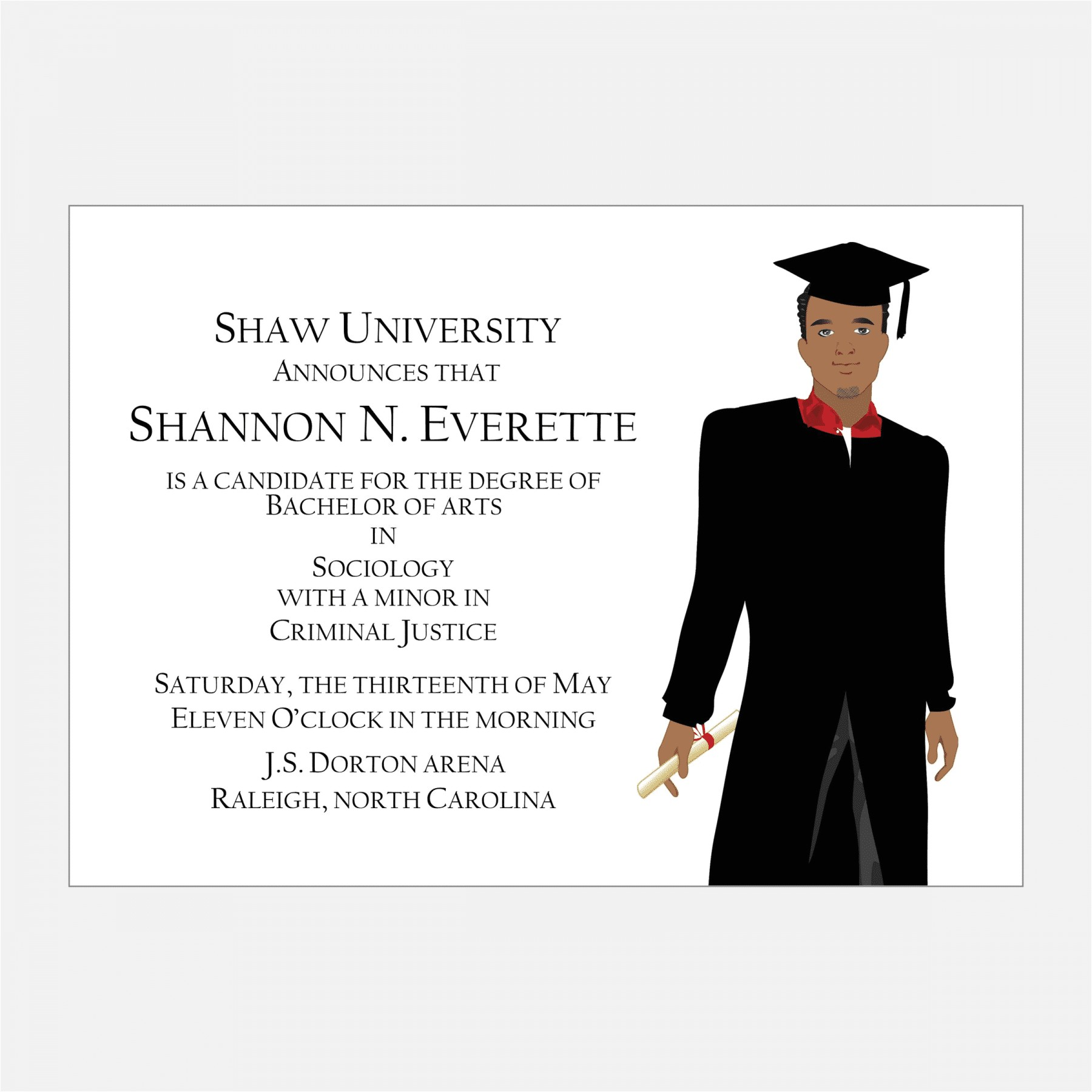 african american male graduation announcement