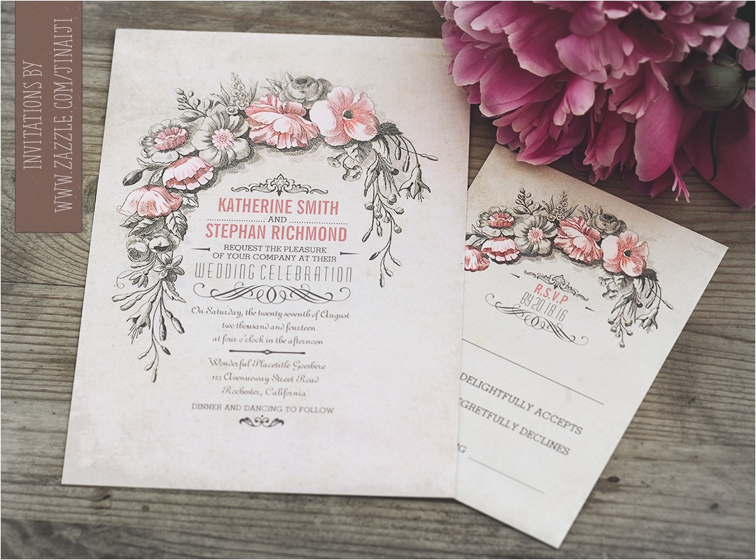 vintage wedding invitation with floral wreath