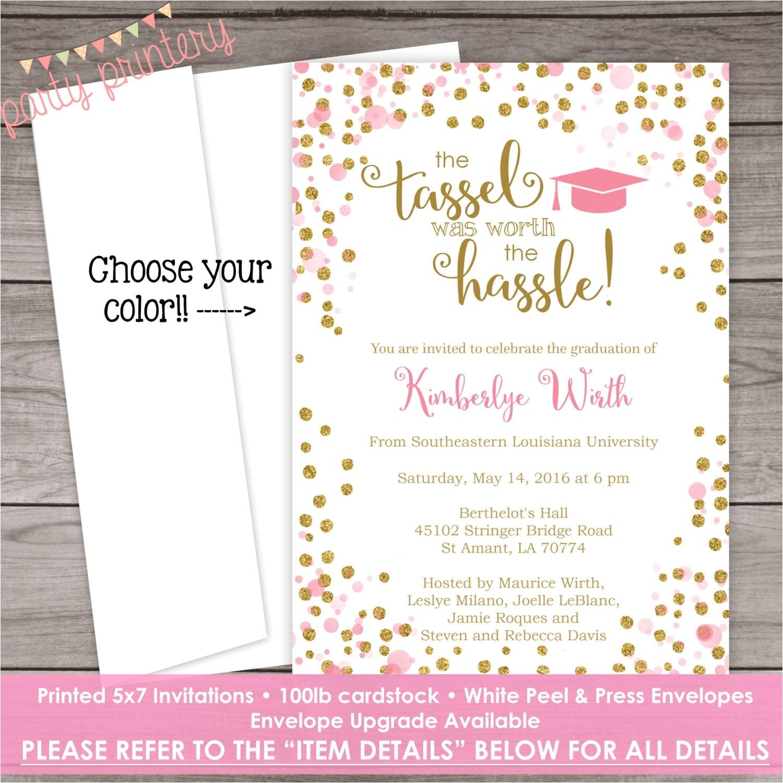 printed graduation invitation pink and