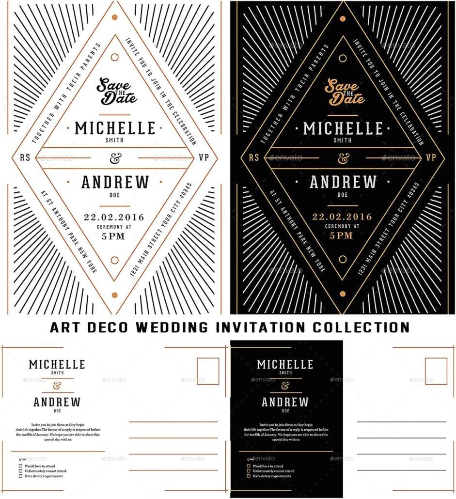 art deco wedding invitation collection