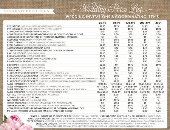 printing price list for wedding