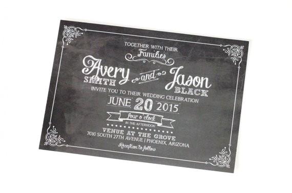 avery chalkboard wedding invitation