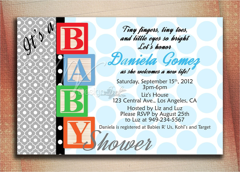 baby blocks baby shower invitation baby