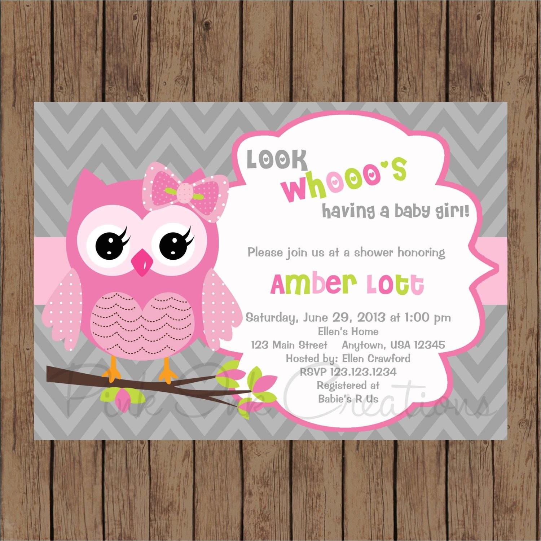 owl birthday invitation pink gray owl