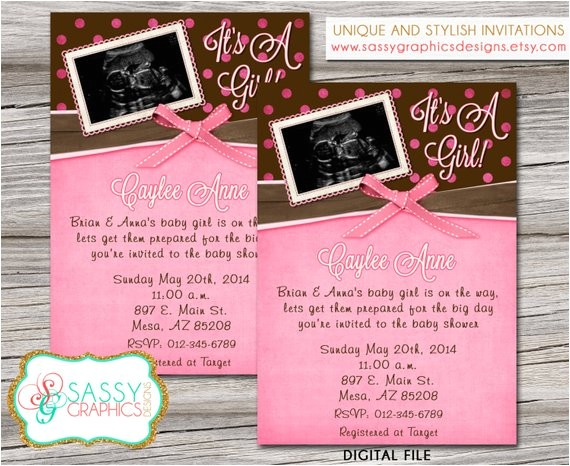 girls baby shower invitation ultrasound picture 2