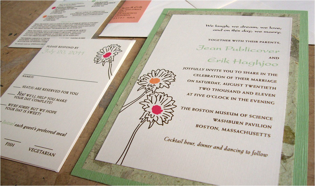 wedding invitations pocket on the back