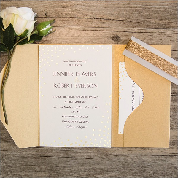 simple gold glitter dots pocket wedding invitations ewpi206