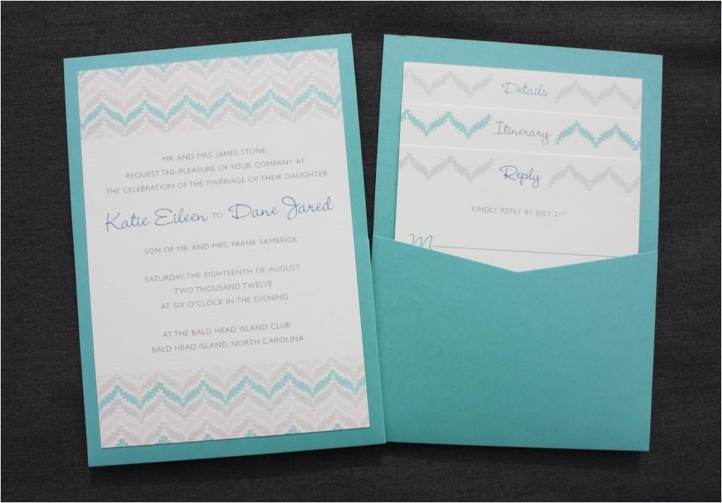 zig zag chevron in pastels neutrals turquoise clutch pocket wedding invitations