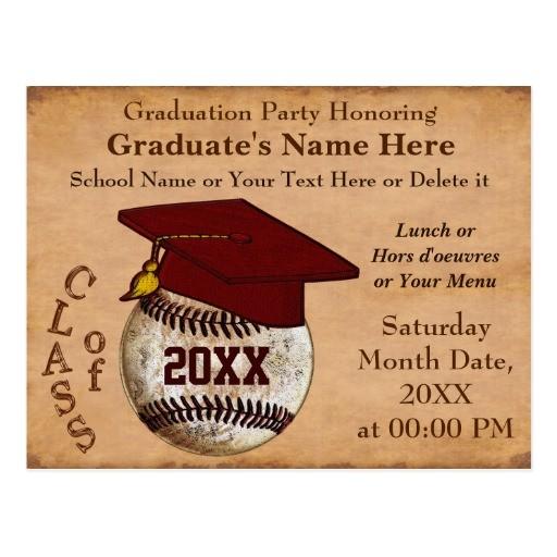 custom vintage baseball graduation invitations postcard 239052930513479764