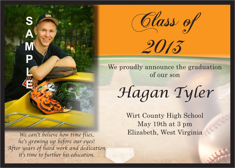 graduation baseball announcement or